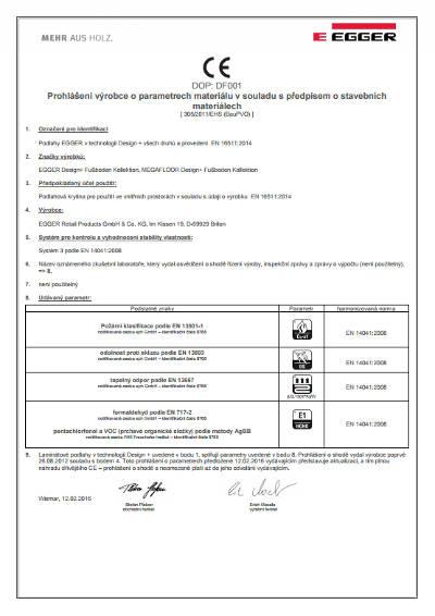 Prohlášení o parametrech materiálu EGGER PRO Design
